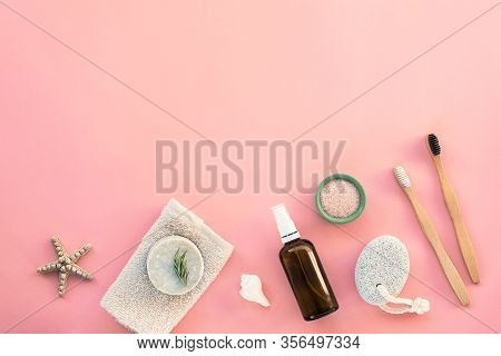 Flat Lay Accessories For Hygiene And Body Care: Handmade Soap, Pumice Stone, Wooden Toothbrushes, Fa