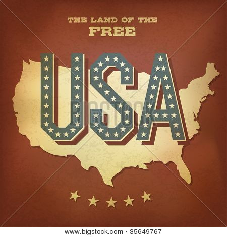 USA abstract retro poster design. Raster version, vector file available in portfolio