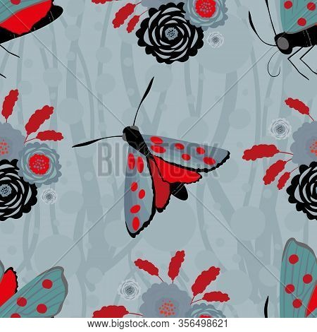 Six Spot Burnet Butterfly Seamless Vector Pattern Background. Day Flying Moth With Bouquet Of Scabio