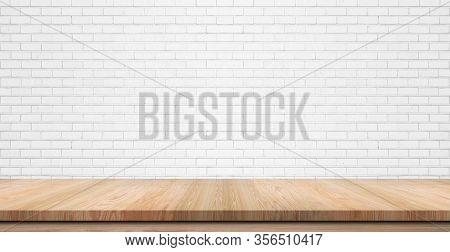 Empty Wooden Table Top, Counter Or Shelf On White Brick Wall Background, For Food Display Banner, Ba