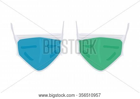 Medical Mask Isolated On White Background. Safety Breathing Face Masks Icon Of Front Side. Dust Prot