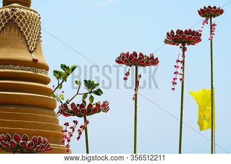 Lotus Flower Floating Sand Pagoda Was Carefully Built, And Beautifully Decorated In Songkran Festiva