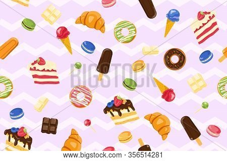 Vector Seamless Pattern With Yummy Macaroons, Ice-cream, Cake, Chocolate, Lollipop, Donut