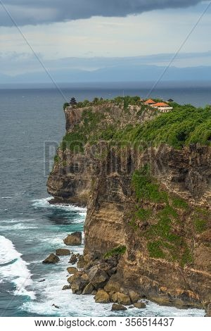 Panoramic View Of Uluwatu Temple Seen From Karang Boma Cliff Before The Storm, Bali - Indonesia