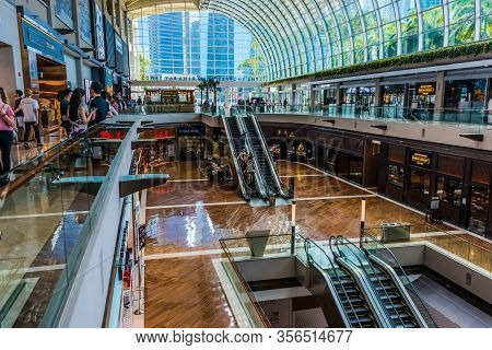 Interior Of The Shoppes At Marina Bay Sands In Singapore