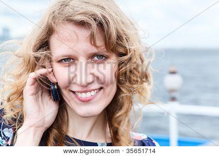 Woman Calling By Cellular  Close Up Portrait  Copy Space