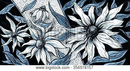 Flowers Aster Blossom Floral Background, Watercolor Hand Drawn Horizontal Art Design. Floral Decorat