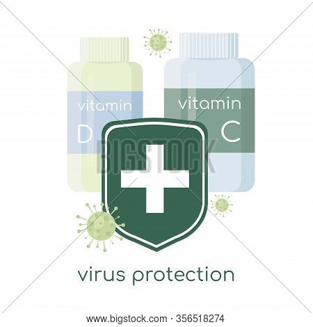 Immune System Stop Coronavirus. Virus Protection - Vitamin C And D. Medical Prevention Human Germ. H