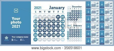 2021 Calendar. New Year Planner Design. English Calender. Blue Color Vector Template. Week Starts On