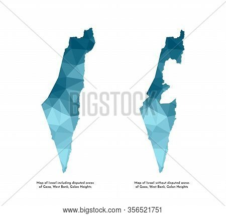 Vector Isolated Illustration Icons With Simplified Blue Silhouettes Of Israel Map (including And Wit