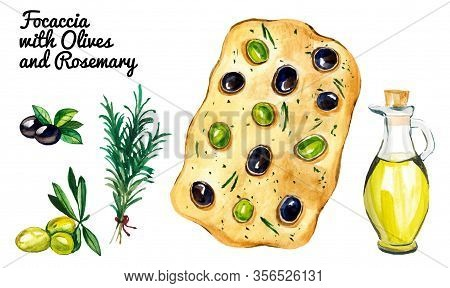 Set Of Watercolor Focaccia With Branch Of Rosemary And Bottle Of Olive Oil Isolated On White Backgro