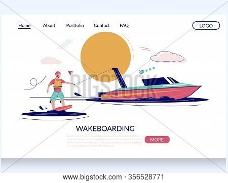 Wakeboarding Vector Website Landing Page Design Template