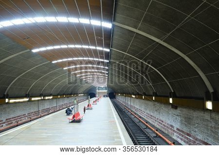 Bucharest, Romania - March 18, 2020: Almost Empty Titan Subway Station During State Of Emergency Due