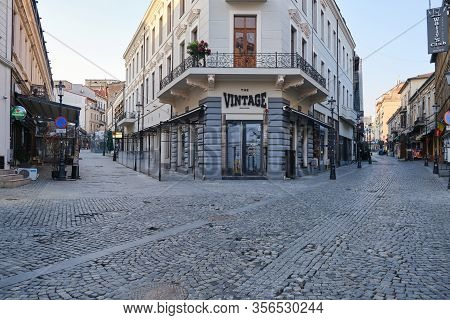 Bucharest, Romania - March 19, 2020: The Vintage Pub In Bucharest Old City Center, Closed Down In Du