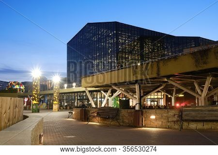 Bucharest, Romania - March 2, 2020: Parklake Shopping Mall In Sector 3, Bucharest, At Blue Hour.