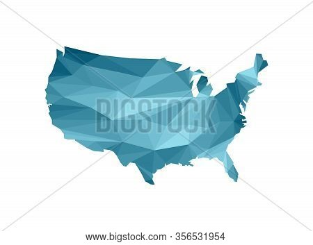Vector Isolated Illustration Icon With Simplified Blue Silhouette Of United States Of America (us) M
