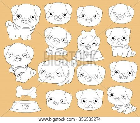 A Vector Of Pugs In Black And White