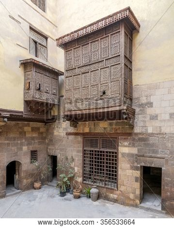 Cairo, Egypt- February 22 2020: Facade Of Ottoman Era Historic House Of El Sehemy With Wooden Oriel