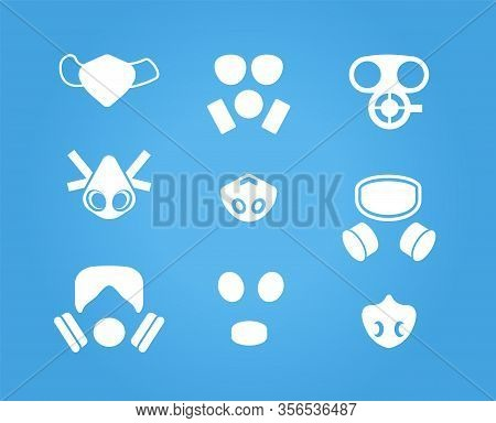 Gas Masks And Respirators Vector Icons Set, Various Face Masks Wearer From Inhaling Airborne Polluta