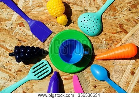 Image Of Childrens Dishes Close-up. Copy Space. Top View