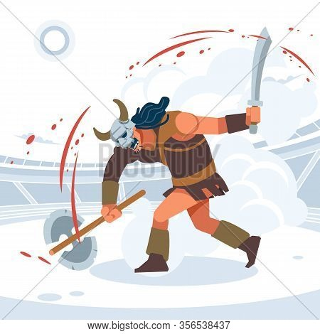 Blood And Sand, The Battle Of The Titans. A Huge Aggressive Gladiator Attacks. Vector Isolated Illus
