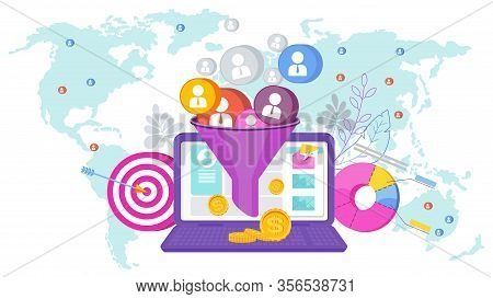 Sales Funnel Concept. Attracting Potential Customers. Website Conversion In Internet Marketing. Busi