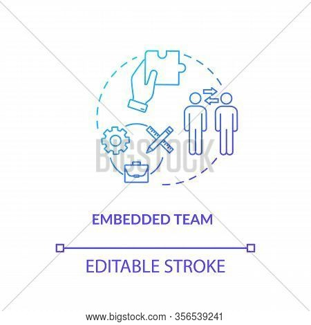 Embedded Team, Coworking Type Concept Icon. Cross-functionality Team Idea Thin Line Illustration. St