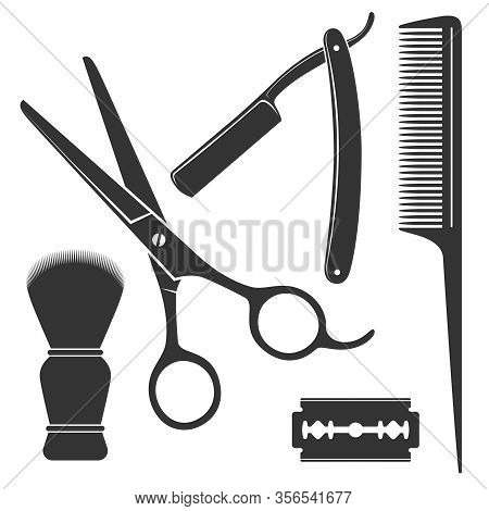 Barber Tools Graphic Icon Set. Scissors, Straight Razor, Comb, Shaving Brush, Blade Signs Isolated O