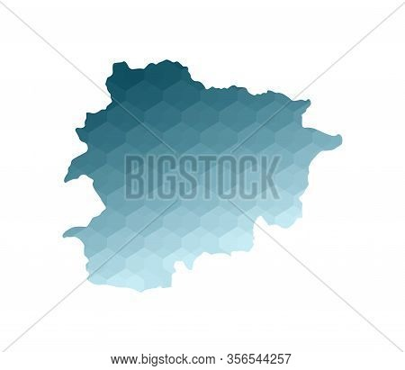 Vector Isolated Illustration Icon With Simplified Blue Silhouette Of Principality Of The Valleys Of