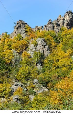 Interesting Rock Formation And Colorful Trees In Autumn, Duernstein Wachau Austria