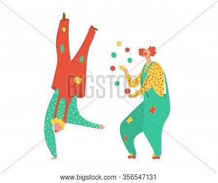 Dancing Clowns For Party Fun Holiday In Circus People In Costumes Happy Birthday Celebration And Car