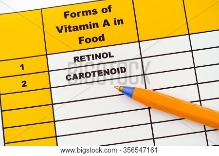 Forms Of Vitamin A In Food. Retinol, Carotenoid. Close Up.