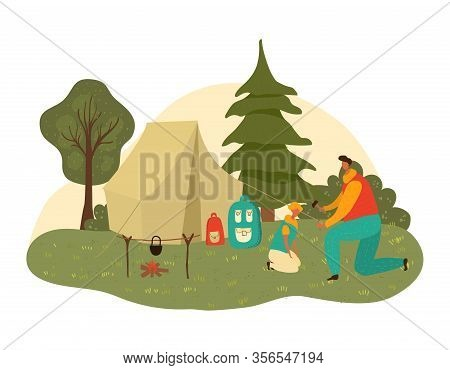 Father Dad And Child Son Hiking Together At Nature Park In Summer, Fatherhood Isolated Vector Illust