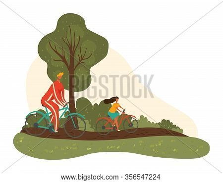 Happy Father Dad And Daughter Biking Together Holiday At Park In Summer, Fatherhood Isolated Vector