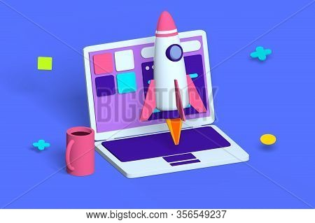 Digital Device And Rocket Symbol For Startup Idea  Illustration. Strategy And Realization 3d Cartoon
