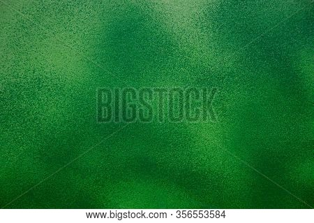 Green Painted Wall. Granular Green Abstraction. Green Spotted Abstraction
