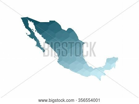 Vector Isolated Illustration Icon With Simplified Blue Silhouette Of Mexico Map. Polygonal Geometric