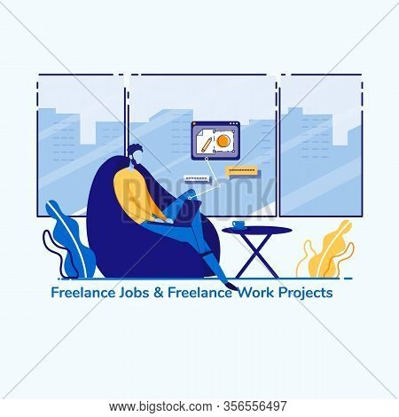 Advertising Banner Freelance Jobs And Work Project. Profit From Satisfying Consumer Needs. Man Is Si