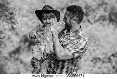 Strong Like Father. Power Being Father. Child Having Fun Cowboy Dad. Rustic Family. Growing Cute Cow