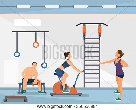 Advertising Banner, Group Sports In Spacious Gym. Girl On Right Is Stretching Before Training, Anoth