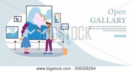 Art Gallery Open Banner. Man Woman Drink Wine Vector Illustration. Sell Contemporary Abstract Painti