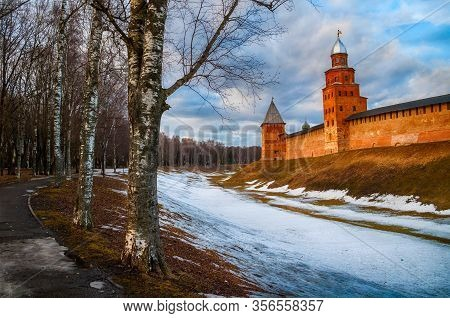 Veliky Novgorod Kremlin Towers At Early Spring Evening In Veliky Novgorod, Russia, Panoramic View Of