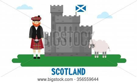 Scotsman In A Suit, An Old Castle And A Sheep