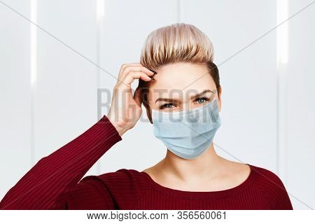 Young Woman Thinking Wearing Protective Face Mask Prevent Virus Infection, Pollution