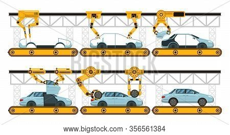 Automobile Assembly. Factory Car Assembly Conveyor, Manufacturing Robotic Arms Automotive, Industria