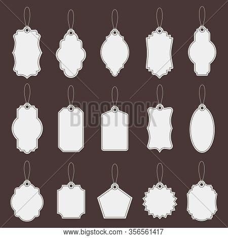 Tag Labels. Paper Vintage Price Tag Mockups, Market Empty Tags Template, Promotion Production Shop C