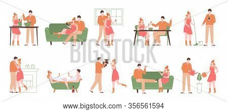 Relax At Home. Cozy Indoor Recreation, Characters Cooking, Eating, Taking Bath And Reading, Relaxing