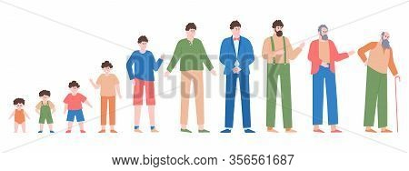 Man Life Cycles. Male Different Age, Baby Boy, Teenager, Student Age, Adult Man And Aged Man, Male C