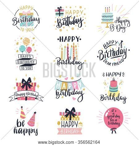 Happy Birthday Logo Badge. Greeting Lettering, Cake, Balloons And Candle Birthday Greeting Card Deco