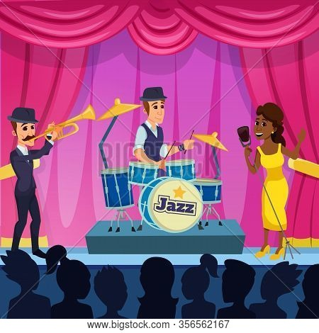 Bright Banner Performance Jazz Fest Cartoon Flat. Concert Venue Rental And Stage Arrangement. Cheerf